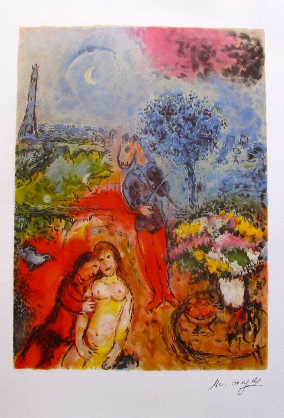 MARC CHAGALL EIFFEL TOWER SERENADE Limited Edition Lithograph