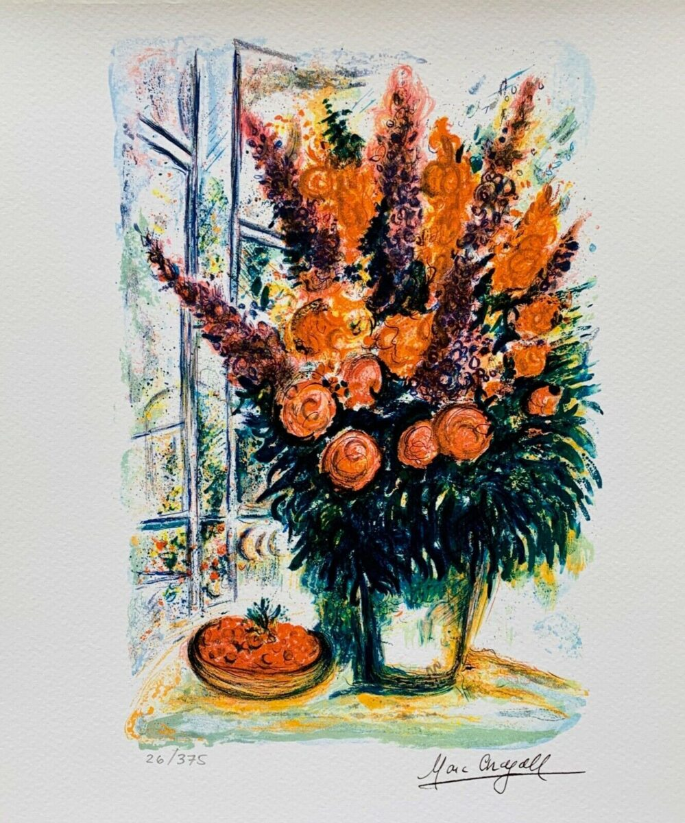 """Marc Chagall BOUQUET WITH BOWL OF CHERRIES Limited Edition Facsimile Signed Giclee 12"""" x 11"""""""