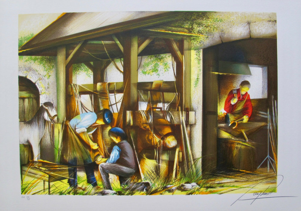 "RAYMOND POULET ""BLACKSMITH"" Hand Signed Limited Edition Lithograph"