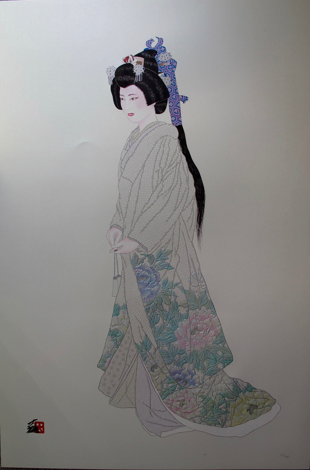 Hisashi Otsuka HANAYOME PURITY Hand Signed Limited Edition Art Pearl Gold & Leaf