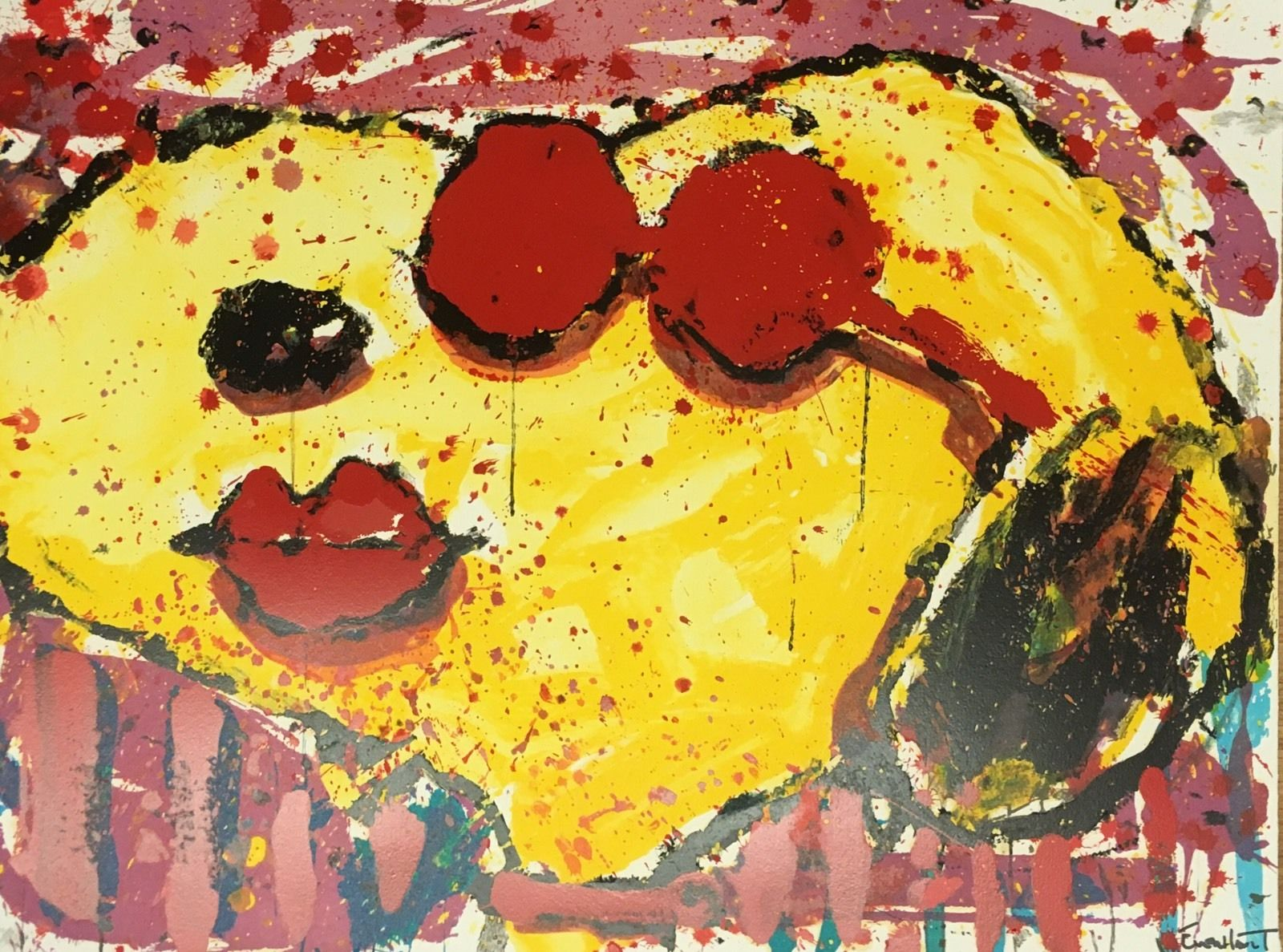 TOM EVERHART VERY COOL DOG LIPS Hand Signed Limited Edition Lithograph SNOOPY