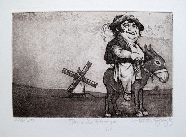 Charles Bragg SANCHO PANZA Hand Signed Limited Edition Etching