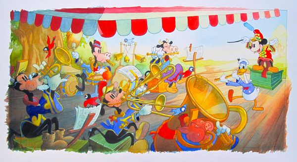 "Tony Bluth MICKEY MOUSE ""STRIKE UP THE BAND"" Limited Ed. Hand Signed Giclee"