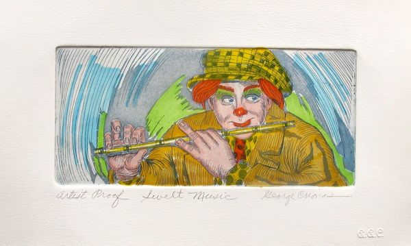 "GEORGE CRIONAS ""SWEET MUSIC"" Hand Signed Artist Proof Color Etching"