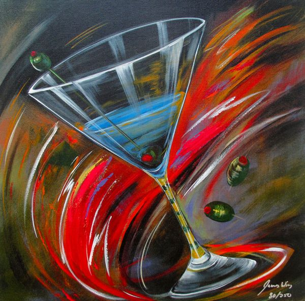 James Wing SWIRL MARTINI Hand Signed Limited Ed. Giclee on Canvas