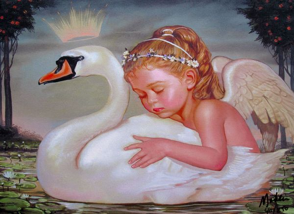 Ralph Wolfe Cowan THE GIRL AND THE SWAN Limited Ed. Giclee on Canvas