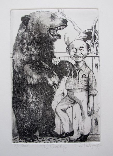 """Charles Bragg """"THE TROPHY"""" Hand Signed Limited Edition Etching"""