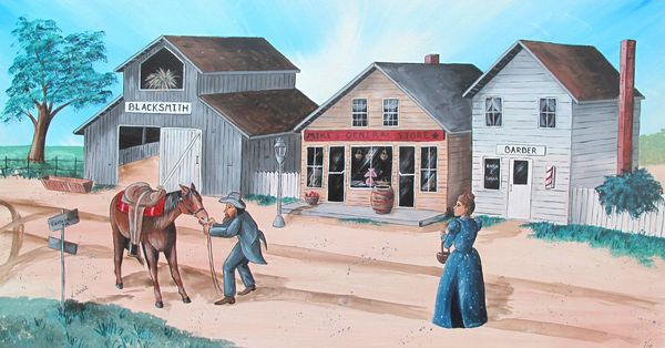 CARTERVILLE USA IN YEAR 1900 by Kelly Wicker Signed Giclee on Canvas