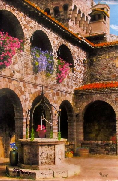 "MARTIN ROBERTS ""COURTYARD WITH WELL"" Hand Signed Giclee on Canvas Italy"