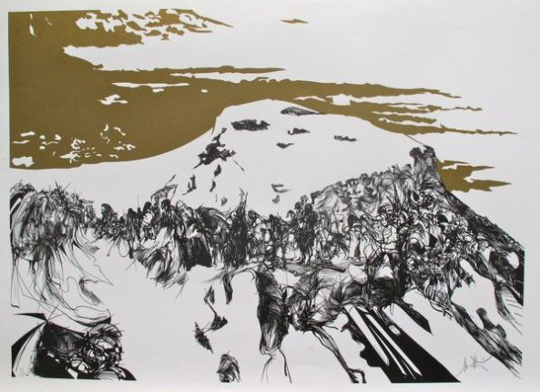 Raymond Moretti ZEALOTS ASCENDING MASADA Hand Signed Limited Edition Lithograph