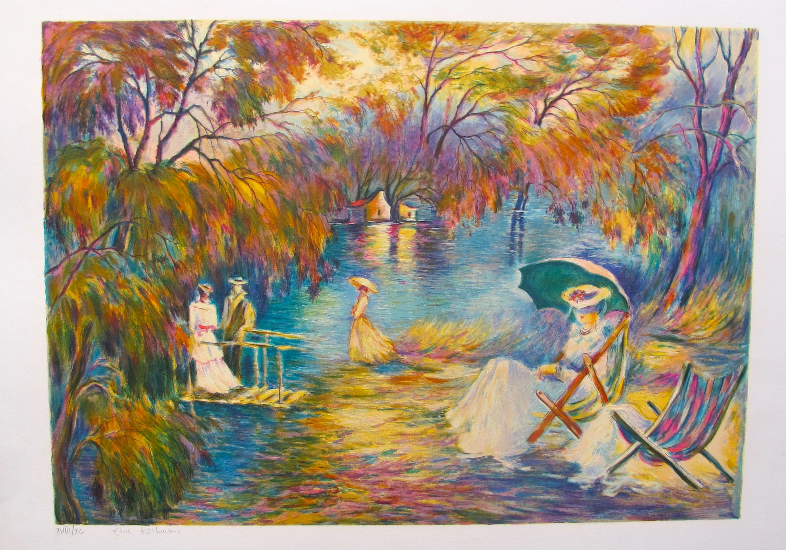 "ZINA ROITMAN ""SUNSET ON THE LAKE"" Hand Signed Limited Edition Serigraph"