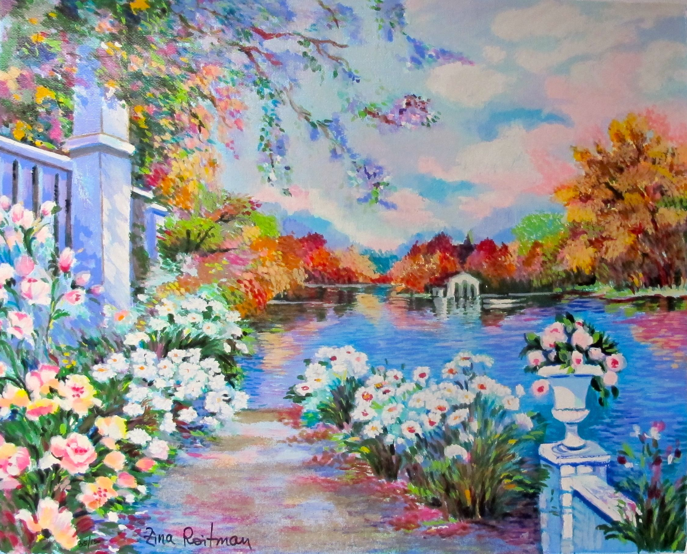 "ZINA ROITMAN ""Lac Fleuri"" Hand Signed Serigraph on Canvas"